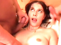 Lovely college girl Sasa gets into a threesome with two dudes