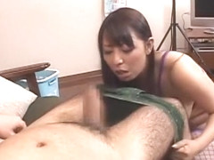 Hottest Japanese chick Ryoko Murakami in Fabulous Stockings, Handjob JAV scene