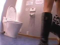 Leggy Japanese bimbo gets banged hard in the toilet