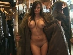 Naked titties in a fur coat