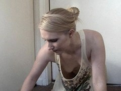 Skinny blonde scrubbing in a down blouse small tits video
