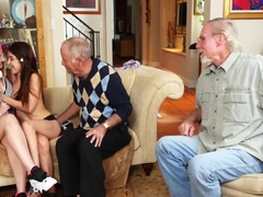 Lucky old grandpa fucking two beautiful and sexy teens