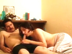 Brunette wife sucking off husband and climbing on top of his manhood