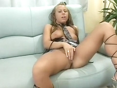 Sultry blonde college babe uses her fingers to please her shaved twat