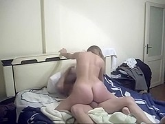 Non-Professional turkish couple hard fuck in their first home sex tape after marriage