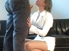 German Fantastci Cook Jerking in front of him white suit heels