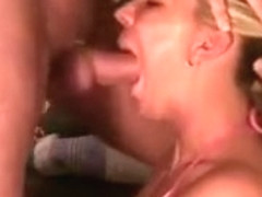 Sweet blonde gf face fucked