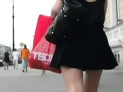 Voyeur gets up the skirt of a delicious blonde