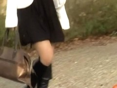 Wonderful Japanese brunette loses her sexy dress when someone steals it