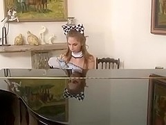 Teaching not cute daughter to play the piano