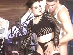 Brunette goth gets her fat pussy lips stuffed by an older man