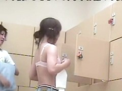 Very sweet Asian girls shaking soft buns on spy camera