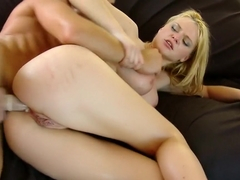 Busty blonde babe teases him before he slides that pecker into her butt