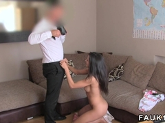 Slim brunette fucks in British casting