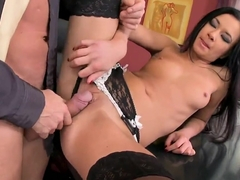 Brunette babe in stockings fucked in all holes