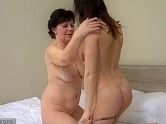 OldNanny Granny with gorgeous angel masturbating bawdy cleft with sex toy
