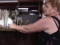 Horny grannies fuck at the bar