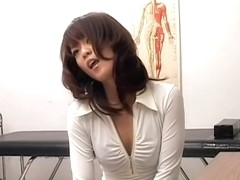 Sweet Jap enjoys a very kinky treatment during pussy exam
