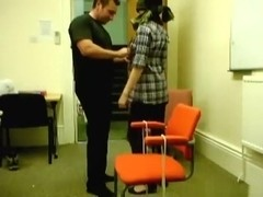 Blindfolded and tied up to a chair naked girl oral, masturbation, doggystyle and missionary sex.