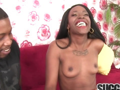 Spicy Black Slut Bellah Dalh Takes a Hard Fuck and a Gooey Facial