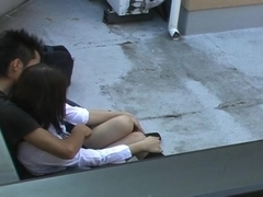 Hot Asian doll and guy are fucking on the roof