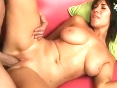 Adorable young brunette with big hooters has an older stud fucking her pussy deep
