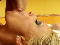 Sensuous blonde milf Vivien plays out her wild fantasy with two guys