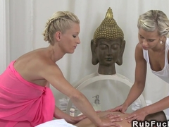 Two blondes massaging and banging guy