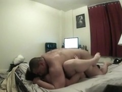 Chubby couple missionary sex in the bedroom with creampie