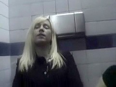 Lesbian Babes inside McDonalds restroom with biggest fake penis