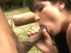 Slutty chick Daniela gets some violent double dicking outdoors
