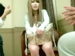 Blonde shaven Jap dicked and creamed in Japanese sex video