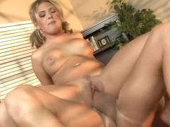 Stacked blonde with pigtails Aubrey Adams fucks a big cock with desire