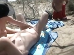 Busted by a stranger having sex in nature and he starts to jerk off !!!