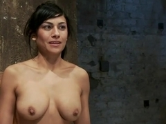 35yr old, super hot cougar, is bound in a reverse prayer, nipple tortured, face fucked, made to cum!