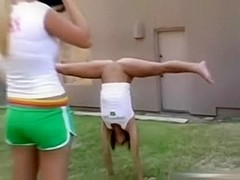 USA Cheerleader Does Her Moves Stripped In The Garden