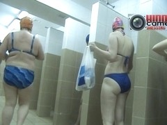 A group of naked grannies caught on a shower spy cam video