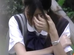 Cheery Japanese schoolgirl gets her boobs licked by some masked stranger