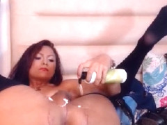 Beautiful Shemale Chic endowed with a rock hard tranny cock