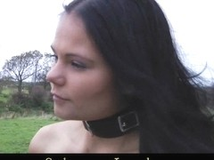 Naked leashed slave girls tortured out in the cold