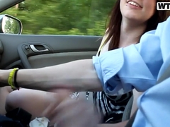 Amateur beauty plays with big dick in a car