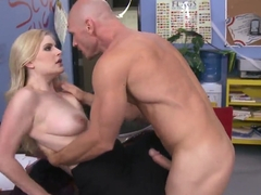 Blonde schoolgirl Danielle Delaunay pleasures Johnny Sins