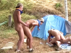 Latin bareback amateurs riding dick outdoors