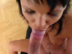 Exciting brunette with perfect tits and ass Maya fucks a cock in POV
