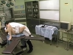 Japanese doctor and his nurse fuck in the medical department